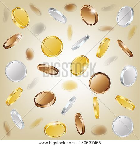 Gold silver and copper coins. vector illustration.