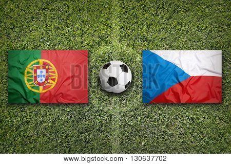 Portugal Vs. Czech Republic Flags On Soccer Field