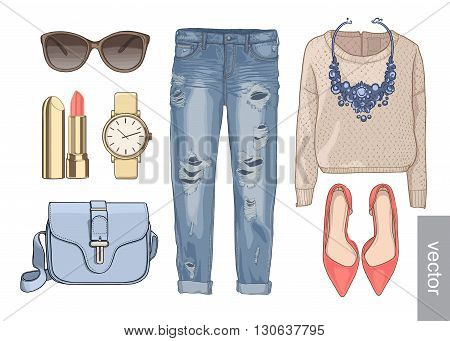 Lady fashion set of autumn, winter season outfit. Illustration stylish and trendy clothing. Denim, pants, sunglasses, necklace, scarf, shoes.