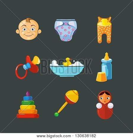 Vector pistures of Toys icons set isolate on dark background. Toys icons for web, ui, and logo developes. Funny cartoon Toys icons for kids.