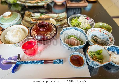 A Japanese styled dinner selection on a table
