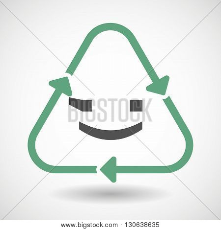 Line Art Recycle Sign Icon With  A Wink Text Face Emoticon