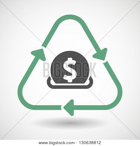 Line Art Recycle Sign Icon With  A Dollar Coin Entering In A Moneybox