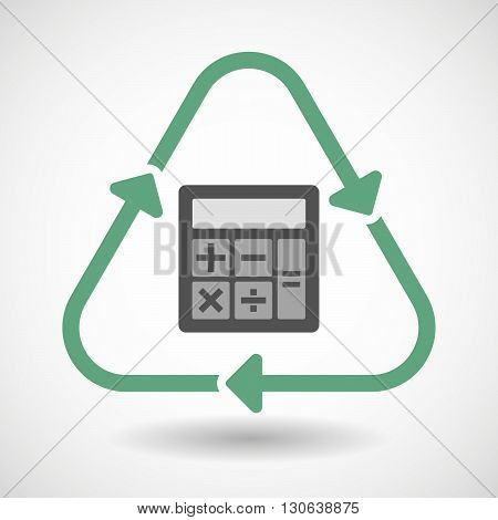 Line Art Recycle Sign Icon With  A Calculator