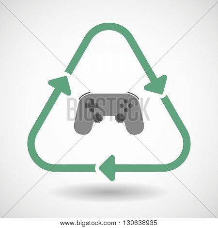 Line Art Recycle Sign Icon With  A Game Pad