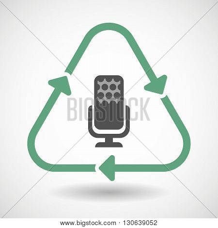 Line Art Recycle Sign Icon With  A Microphone Sign