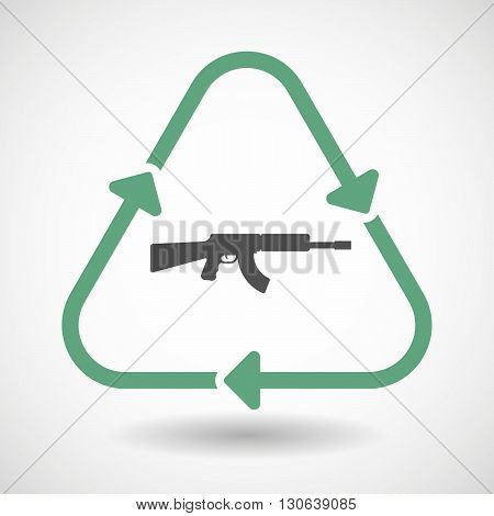 Line Art Recycle Sign Icon With  A Machine Gun Sign