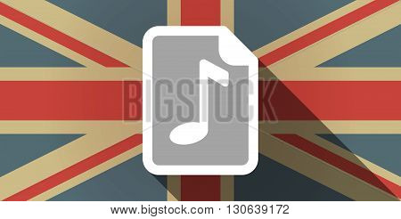 Long Shadow Uk Flag Icon With  A Music Score Icon