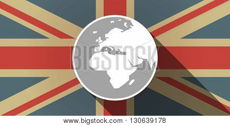 Long Shadow Uk Flag Icon With   An Asia, Africa And Europe Regions World Globe