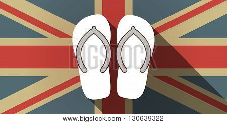 Long Shadow Uk Flag Icon With   A Pair Of Flops
