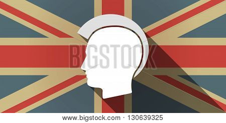 Long Shadow Uk Flag Icon With  A Male Punk Head Silhouette