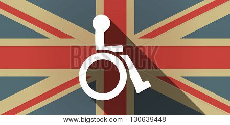 Long Shadow Uk Flag Icon With  A Human Figure In A Wheelchair Icon