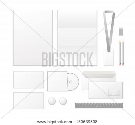 Corporate identity template design. Business set stationery isolated on white background