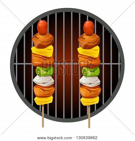 Vector of barbecue grilled on a barbecue.