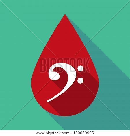 Long Shadow Blood Drop With An F Clef
