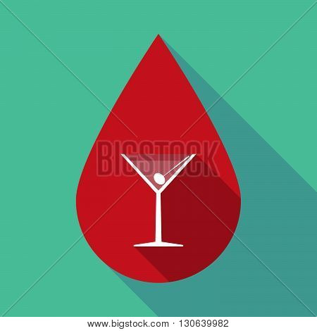 Long Shadow Blood Drop With A Cocktail Glass