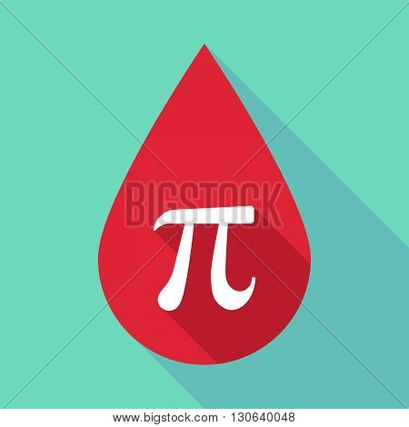 Long Shadow Blood Drop With The Number Pi Symbol