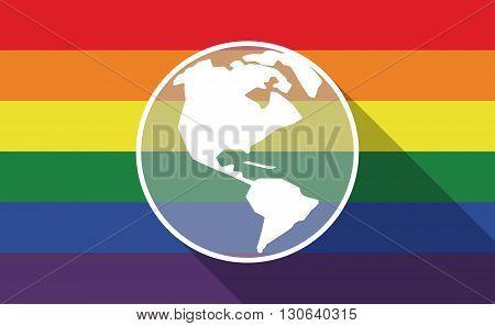 Long Shadow Gay Pride Flag With An America Region World Globe