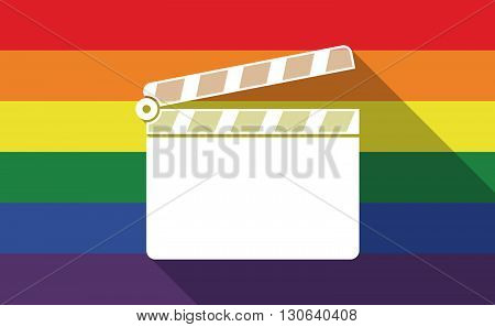 Long Shadow Gay Pride Flag With A Clapperboard