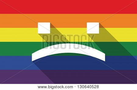 Long Shadow Gay Pride Flag With A Sad Text Face
