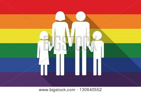 Long Shadow Gay Pride Flag With A Conventional Family Pictogram