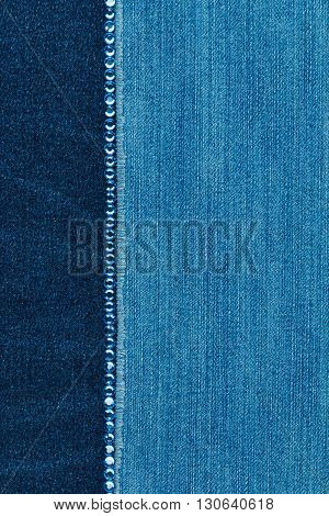 Fashionable background texture with a line of blue rhinestones with space for your text
