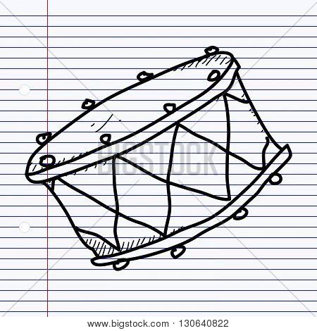 Simple hand drawn doodle of a drum