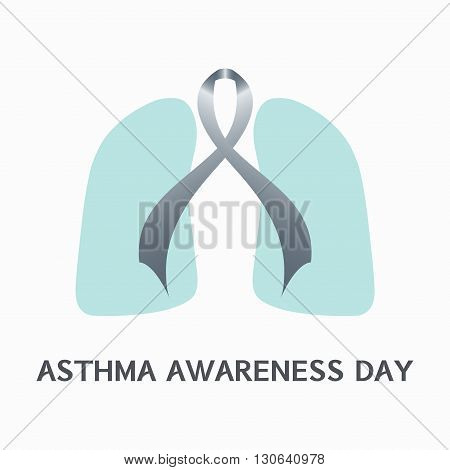Asthma awareness sign. Asthma concept with grey ribbon and lungs icons on white background. Asthma solidarity day. Vector illustration.