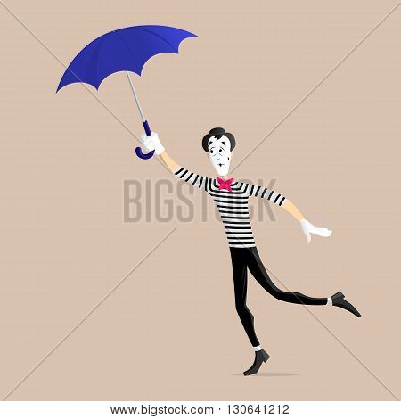 A Mime performing a pantomime flying away with an umbrella