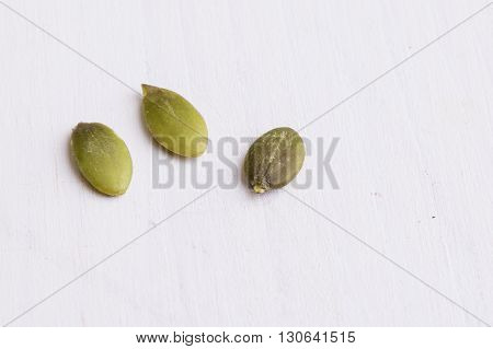 Pumpkin Seeds On White Table