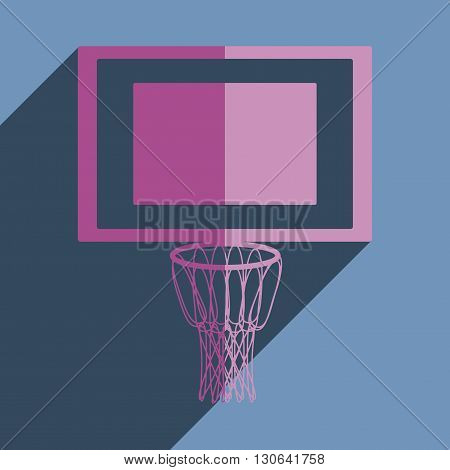 Flat icons with shadow of basketball net. Vector illustration