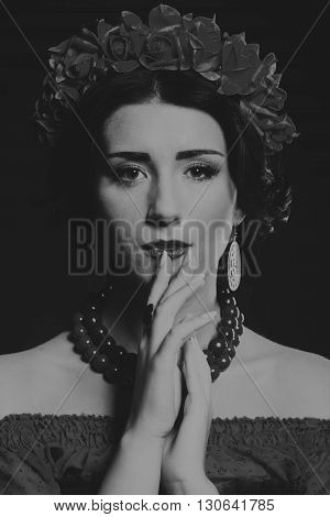 Black and white photo of a beautiful girl