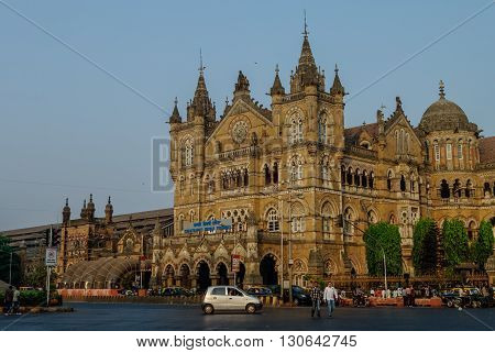 Mumbai, India - January 1, 2012: Chhatrapati Shivaji Terminus (CST) is a UNESCO World Heritage Site and an historic railway station in Mumbai India