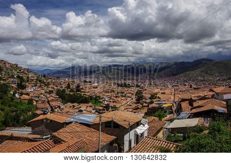 Cityscape Of Cusco In Sacred Valley, Peru. A View From A Fortress Saksaywaman (unesco World Heritage