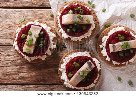 Norwegian Sandwiches With Herring, Beetroot And Cream Cheese. Horizontal Top View