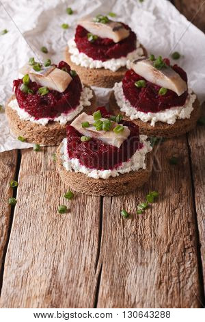 Tasty Sandwiches With Herring, Beetroot And Cream Cheese. Vertical