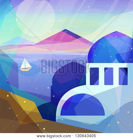 Greece landscape in low poly geometric style. Landscape of ancient temple mountains sea beach sailboat. Vector illustration for web and mobile phone and print.