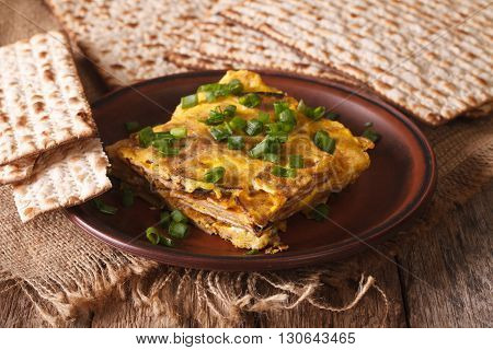 Jewish Omelette: Matzah Brei With Green Onions Close-up. Horizontal