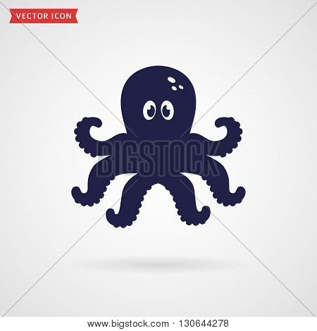 Cute octopus icon isolated on white background. Sea and underwater themes. Vector illustration.