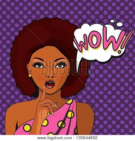 WOW bubble pop art.Surprised Black Woman With Open Mouth. Vintage comic poster with a girl. Pop Art illustration of a woman with the speech bubble. Party invitation. Birthday greeting card