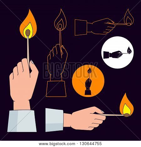 Hand holding burning match. Vector icons set. Color monochrome and outline.