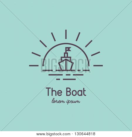 Modern linear sailboat on vintage background. Travel and adventure logo for your business.