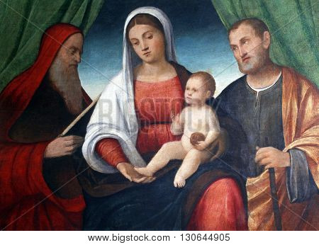 ZAGREB, CROATIA - DECEMBER 12: Francesco Bissolo: Holy Family with Saint Jerome, exhibited at the Great Masters Renaissance in Croatia, opened December 12, 2011. in Zagreb, Croatia