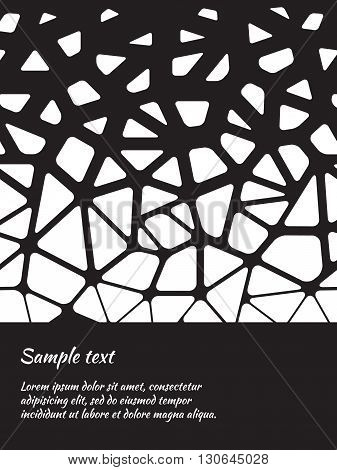 Card design with abstract black-and-white pattern and space for text. Vector Image.