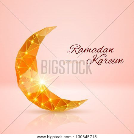 Glowing ornate crescent with bright flare and radiance in rose and golden shades. Greeting card of holy Muslim month Ramadan