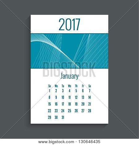 Monthly calendar for 2017. Planner. Template grid. Color blue.  Week Starts Sunday. Technology, technical vector. Futuristic high tech design. Months January.