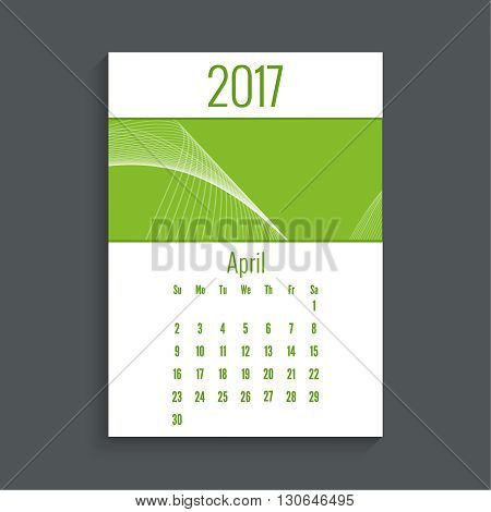 Monthly calendar for 2017. Planner. Template grid. Color green.  Week Starts Sunday. Technology, technical vector. Futuristic high tech design. Months april.