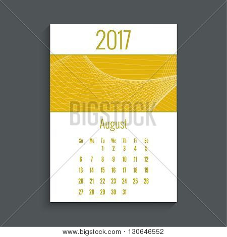 Monthly calendar for 2017. Planner. Template grid. Color yellow.  Week Starts Sunday. Technology, technical vector. Futuristic high tech design. Months august.