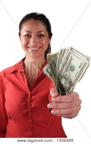Latino Woman With Money