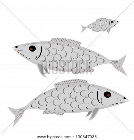 Collection of stylized fish. Marine life. Aquarium fish. Line art. Black and white drawing .